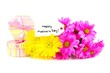 Happy Mothers Day tag with gift boxes and colorful flowers