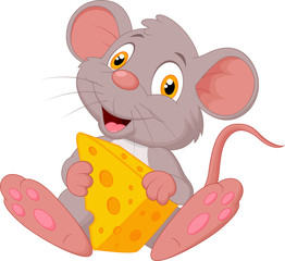 Cute mouse cartoon holding cheese