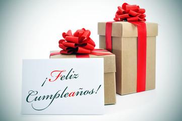 feliz cumpleanos, happy birthday written in spanish
