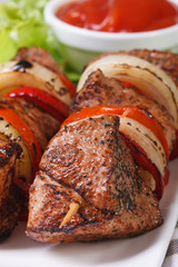 shish kebab with vegetables and sauce on a white plate macro