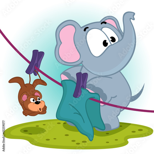 Elephant mistakenly  hung on clothespins mouse by the tail