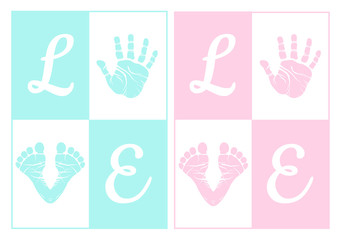 baby boy and girl, handprint, footprint, vector set