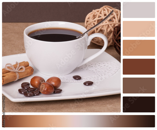 Black Coffee In White Cup. Palette With Complimentary Colour Swa