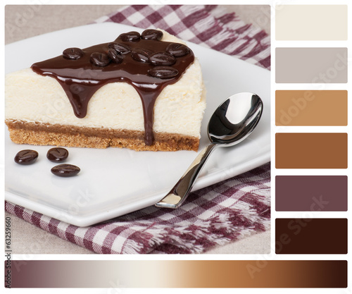 Cheese Cake With Chocolate Sauce On White Plate. Palette With Co