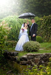 Just married couple standing under umbrella at park