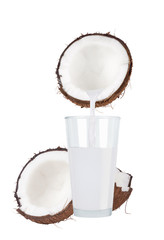 Fresh coconut and coconut milk in glass