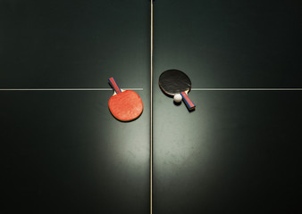 Table tennis table and ping pong paddles