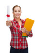 smiling woman with diploma and folders