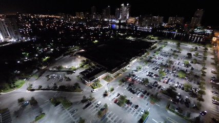 Aerial video shopping center at night