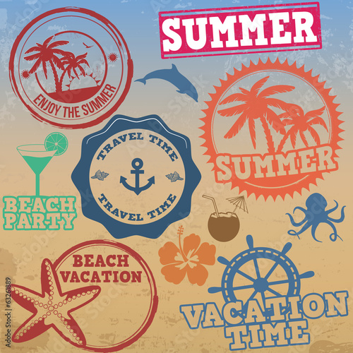 Set of summer vacation stamps