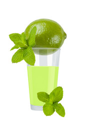 Glass of fresh lime juice with lime
