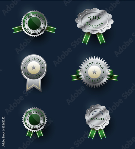 Set of classic silver badges. Certified quality labels.