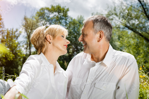 Senior couple in spring outdoors