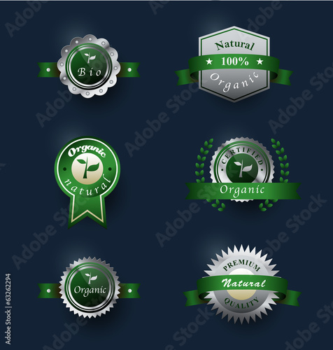 Set of badges. Premium quality, natural, 100% organic, bio.