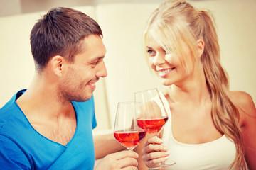 romantic couple drinking wine