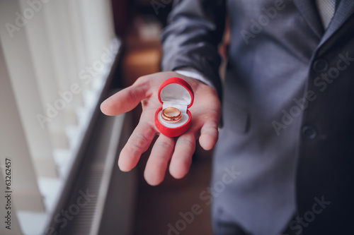 Engagement ring or present in the hands