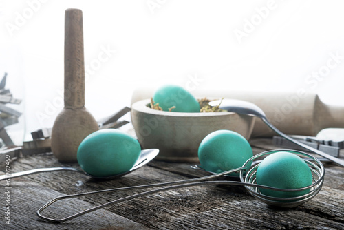 Teal Easter Eggs with spoons