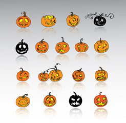 Set of Halloween pumpkins. Jack o lantern collection.