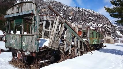 Vagón abandonado en Canfranc