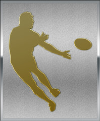 Gold on Silver Rugby Sport Emblem