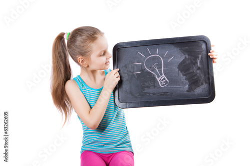 girl holding a plate of idea