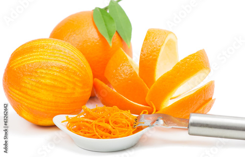 orange peel and zest