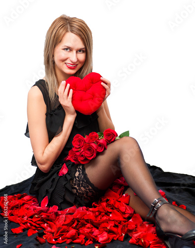 beautiful woman  with a plush toy and the heart