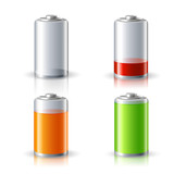 Realistic Battery Status Icons Set