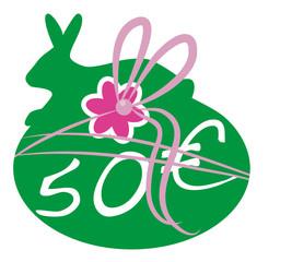 50 € Gutschein,Geschenk,Osterhase,Blume,Vektor