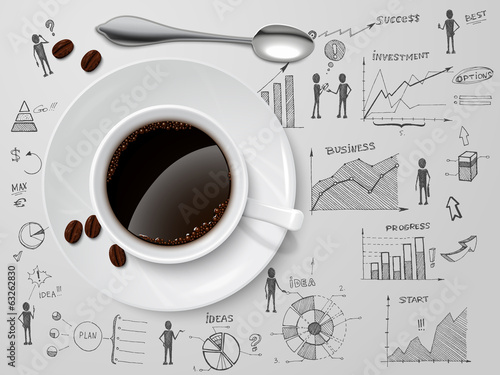 Coffee cup on business sketch