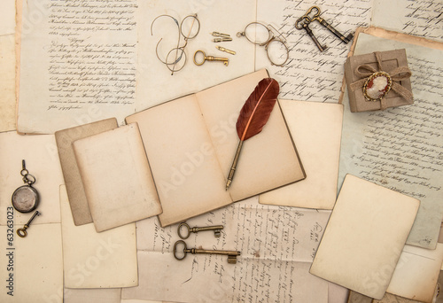 vintage writing accessories, old papers and letters