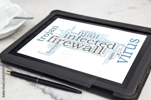 tablet with firewall word cloud