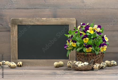 easter decoration pansy flowers and blackboard
