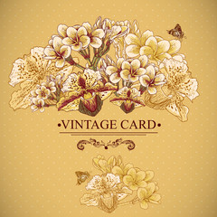 Vintage Floral Card with Exotic Flowers.