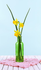 Beautiful irises and daffodils in bottle, on blue background