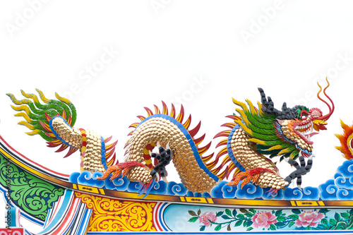 Golden dragon chinese art decorative in temple
