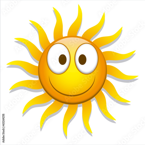 Funny Cartoon Sun Icon Isolated On White Background