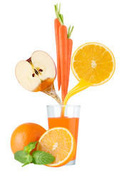 Fruit juice and vegetable juice in glass