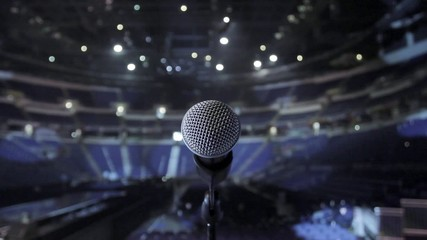 Microphone on stage at concert venue
