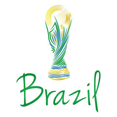 Soccer Of Brazil Abstract Illustration Editable