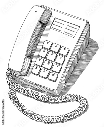 Vintage office telephone drawing ink isolated on white backgroun