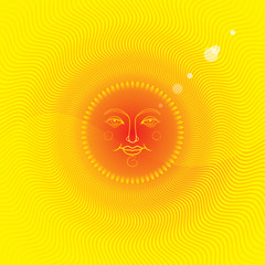 Summer background with a sun face.