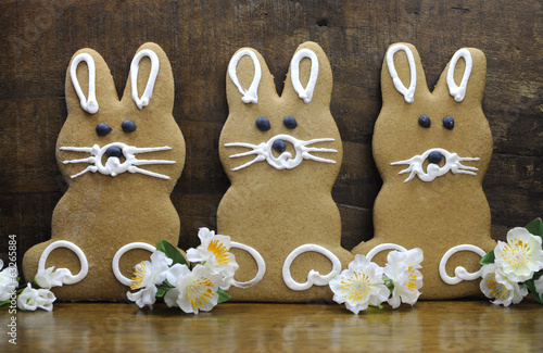 Group of three Happy Easter bunny gingerbread cookies