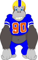 gorilla cartoon playing american fooball