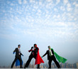 Superhero Businessmen Infront of New York City