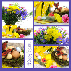 Collage of Happy Easter spring flowers with eggs in nest
