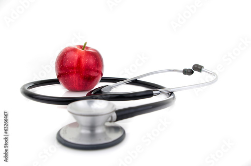 stethoscope with an apple