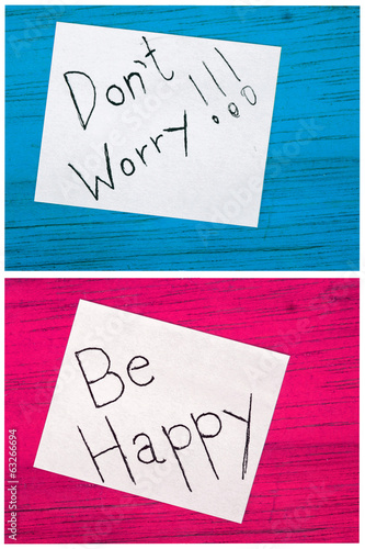 post it notes, dont worry, be happy