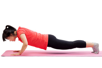 Woman doing push up workout
