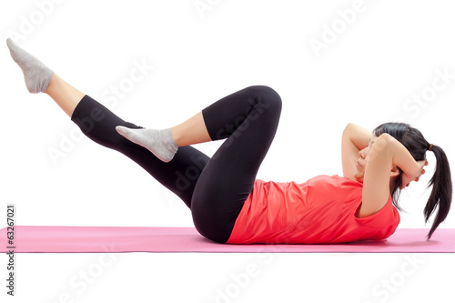 Woman doing abdominal exercises